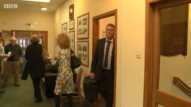 Convener of the Crofting Commission, Colin Kennedy, storms out of the board meeting in Brora