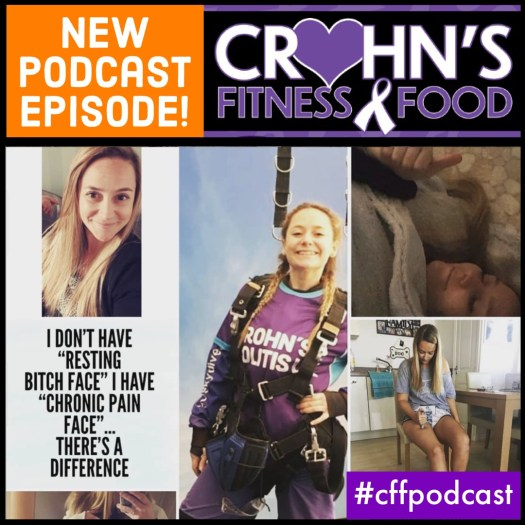 Crohn's Fitness Food podcast cover image of Jenny Pasco