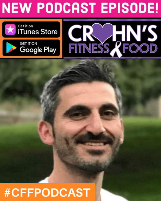 Crohn's Fitness Food podcast cover with Aras Toker, Vivante Health Community