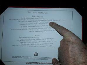 Menu du restaurant du Queen Victoria