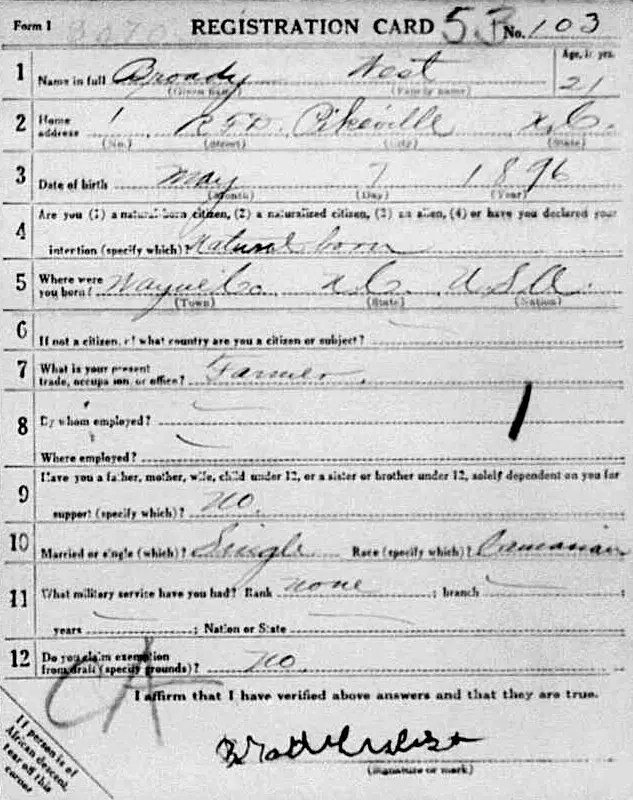 Brodie West World War I registration card