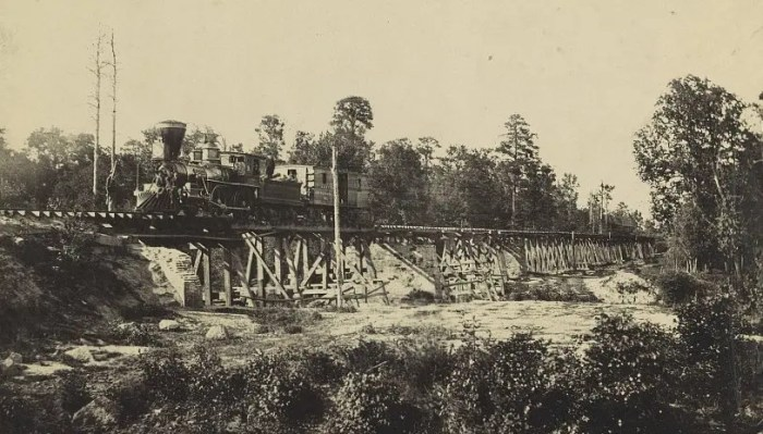 Train on Neuse River bridge, ca1865
