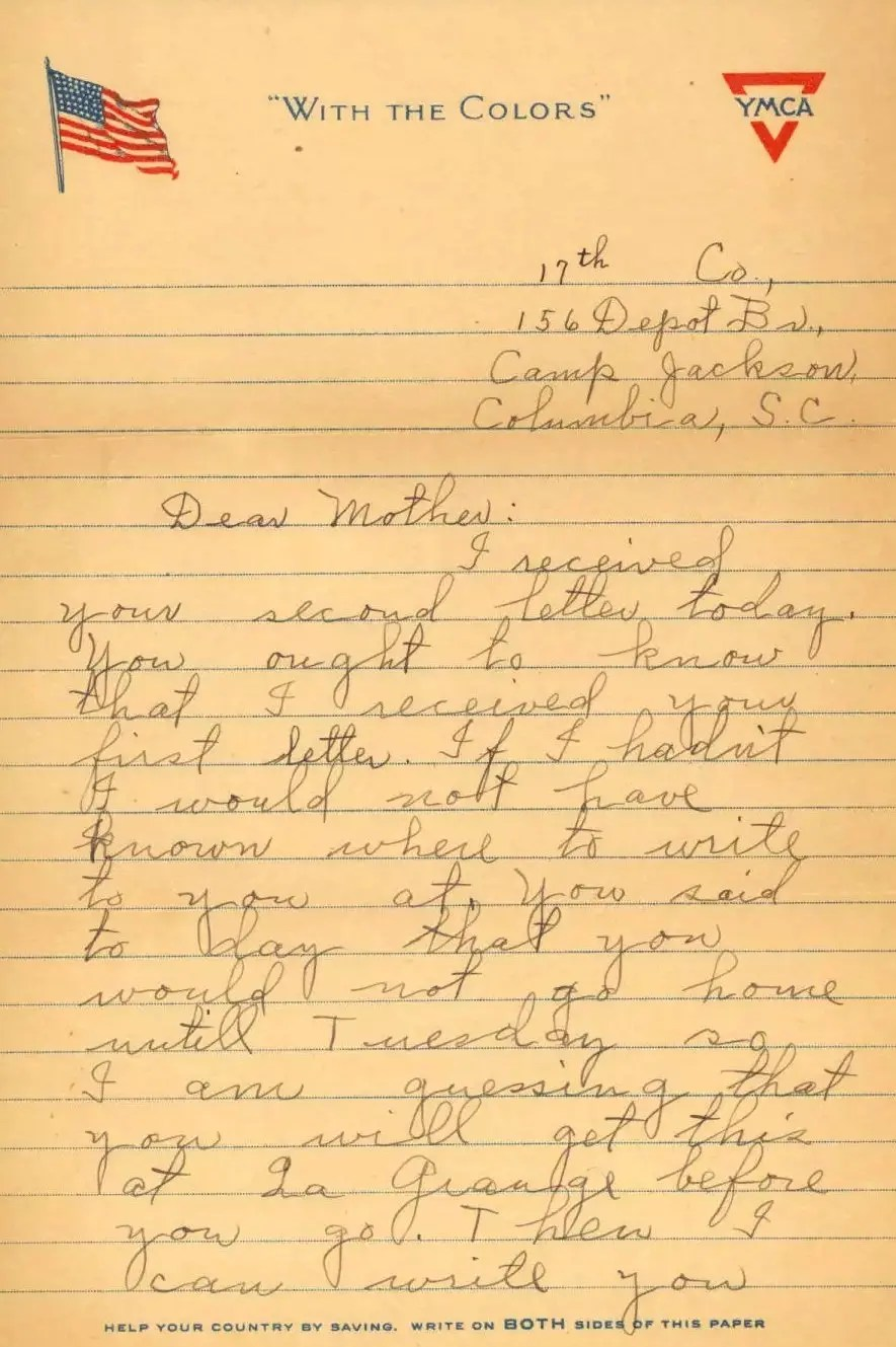 John Exum letter p1, sent to his mother 1918 from Camp Jackson SC