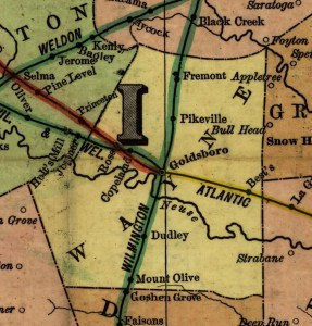 1900 NC railroad map, Wayne County inset