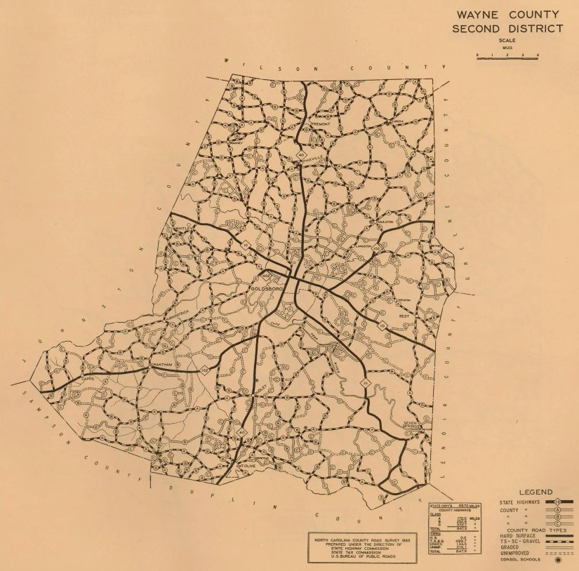 1930 Wayne County road survey map