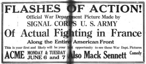 Goldsboro Daily Argus June 4, 1921, Flashes of Action promo