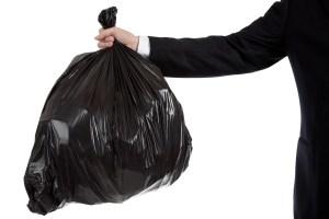 black sack being held up