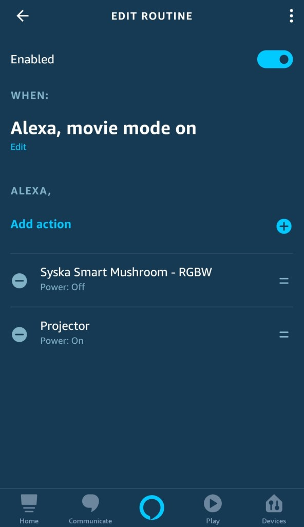 Alexa routine to control ir projector and lights