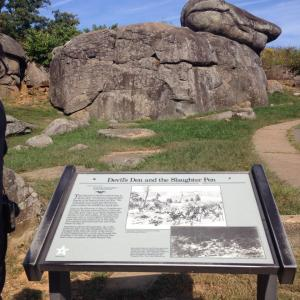Devil's Den and Slaughter Pen Informational Board in Gettysburg