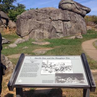 Devil's Den and Slaughter Pen Informational Board in Gettysburg