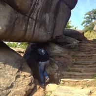 Exploring the Devil's Den boulders in Gettysburg