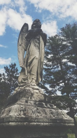 Angel memorial in Pine Ridge Cemetery