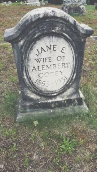 Jane E Corey stone in Pine Ridge Cemetery