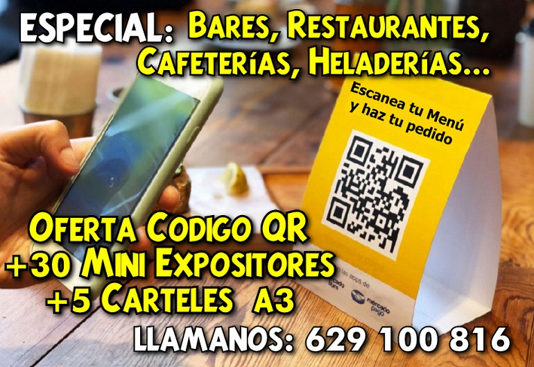 Oferta Código QR+30 Miniexpositores+5 Carteles A3