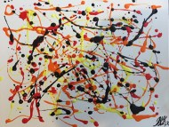 Abstract Acrylic 16 in x 20 in / 40.6cm x 50.8 cm Signed Ilka Oliva Corado $100