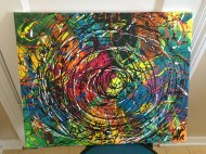 Abstract Acrylic Abstract Acrylic 16 in x 20 in / 40.6cm x 50.8 cm Signed Ilka Oliva Corado Selling $100