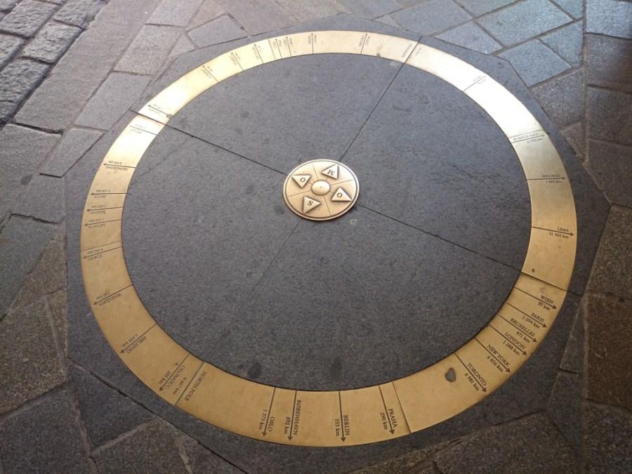 Kilómetro cero en el suelo de la Puerta de San Miguel. Qué ver en Bratislava