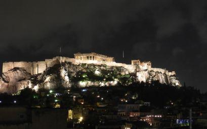 Partenón de noche Atenas