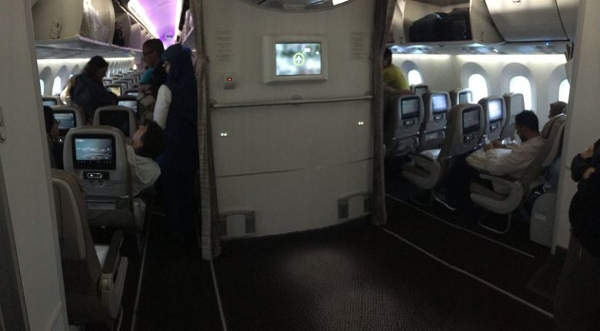 Sala rezar avión Saudia Airlines