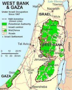 Mapa que muestra las zonas de Palestina donde puedes entrar con tu coche alquilado en Israel
