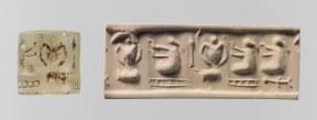 Sello cilíndrico de Uruk e impresión actual de su relieve representando tres mujeres con coleta y vasijas de doble asa (Spar 2004)