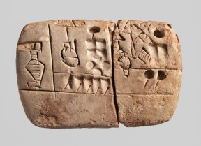 Tablilla cuneiforme de Uruk (3100-2900 AC), con el registro del grano de cebada y malta recibido (Spar 2004)