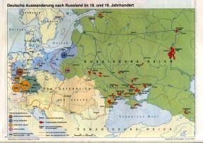 Migraciones alemanas en Rusia (con las fechas, las áreas de origen y destino, y el volumen de los contingentes especificados) en los siglos XVIII y XIX (sin referencia, fuente: Centro Argentino Cultural Wolgadeutsche)