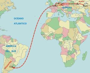 """Trazado básico de las rutas seguidas por los """"alemanes del Volga"""" en Europa y Argentina a finales del siglo XIX (fuente: www.oni.escuelas.edu.ar)"""