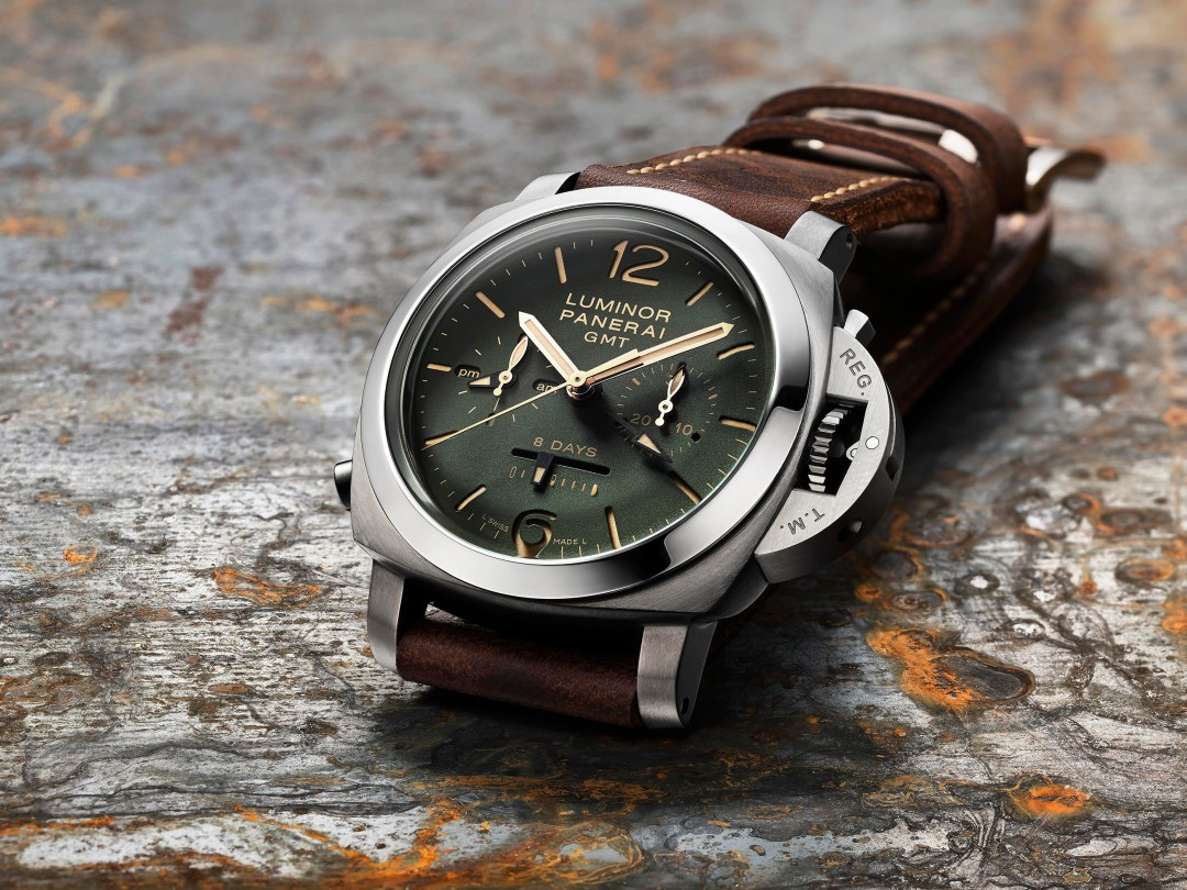 Green Dial_PAM00737_Luminor 1950 Chrono Monopulsante 8 Days GMT Titanio - 44mm