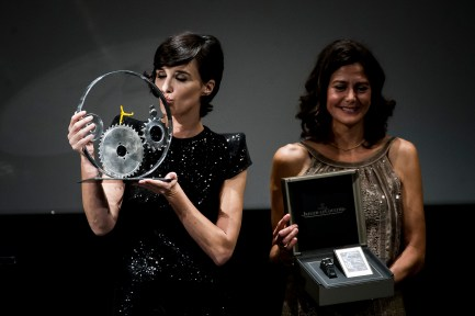 SAN SEBASTIAN, SPAIN - SEPTEMBER 23: Paz Vega recieves from Mercedes Canos the Jaeger-LeCoultre 'Latin Cinema Award' at Victoria Eugenia Theatre on September 23, 2017 in San Sebastian, Spain (Photo by Juan Naharro / Getty Images for Jaeger-LeCoultre)
