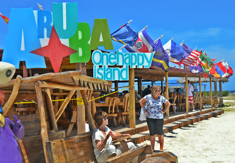 aruba sign with mom on island caribbean eileen cotter wright