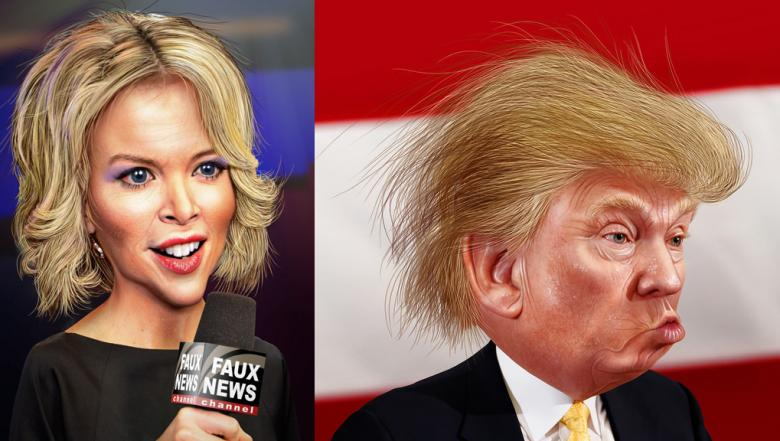 Megyn Kelly and Donald Trump, cartoon
