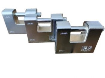 3 Keyed Alike IFAM ARM80 Armoured Rectangular Padlocks.