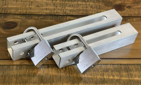 Crookstoppers large and small outboard engine locks with padlocks..