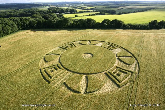 Wyle,Wiltshire. 16 June 2016. Barley. c.150ft (46 m) diameter. Circle with flattened centre and outer ring containing a Greek letter pattern with cones.