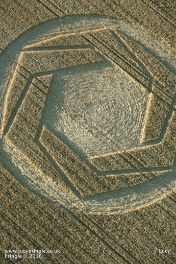 Cheesefoot Head, Nr Winchester, Hampshire. 25 July 2016. Wheat. c.160 feet (49m). Circle containing a hexagon formed from six interlocking 'boomerang' shapes, with hexagon within.