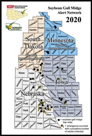 Soybean gall midge adult detection map.