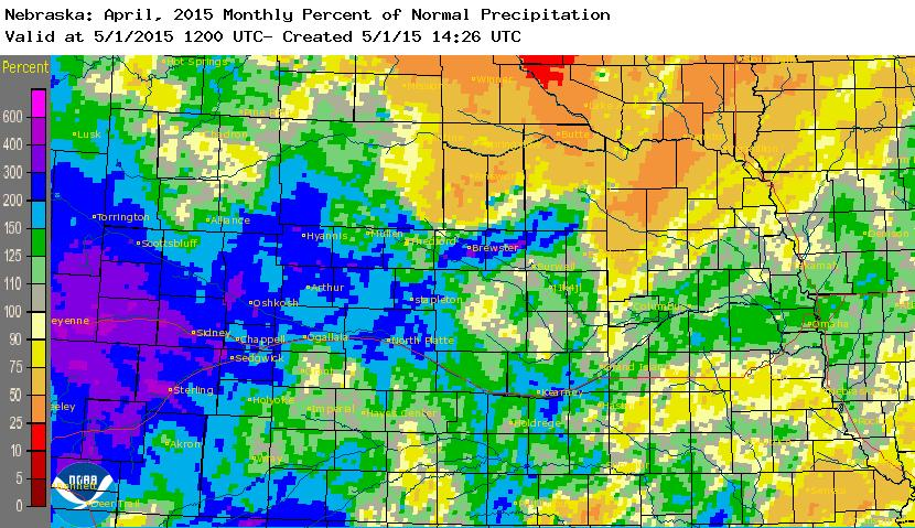 April 2015 Monthly Percent of Normal Rainfall