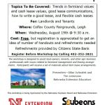 Landowner/Tenant Lease Workshop to be Held Wednesday, August 19th in Leigh