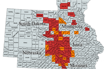 Multi-state map showing counties where soybean gall midge has been confirmed