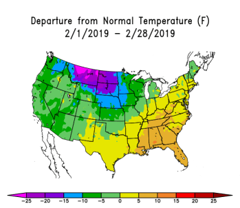 US Map showing departure from normal temperatures for February 2019