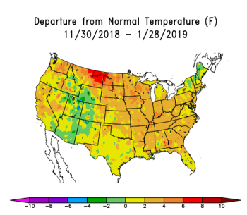 US map showing departure from normal temperatures from 11/30/2018 to 1/28/2019