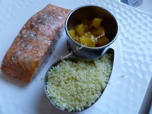 Saumon à l'aigre-douce, mangue et sauce curcuma P1020115