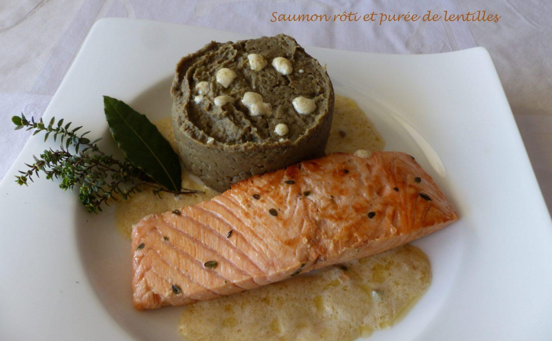 Saumon rôti et purée de lentilles P1090501 R
