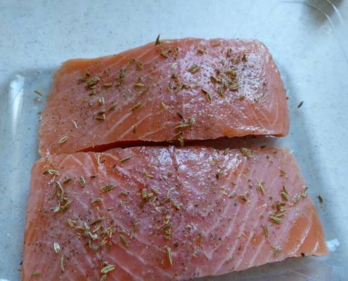 Papillote de saumon sauce et riz au citron P1220823