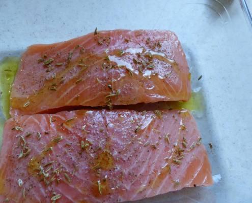 Papillote de saumon sauce et riz au citron P1220824