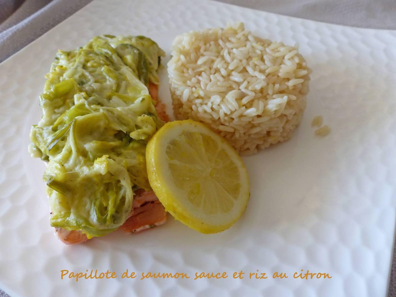 Papillote de saumon sauce et riz au citron P1220841 R