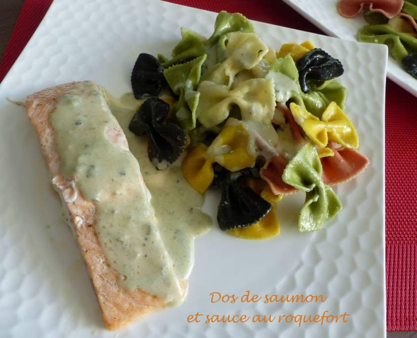 Dos de saumon et sauce au roquefort P1200908 R