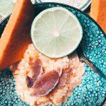 Smoothie framboises mangue