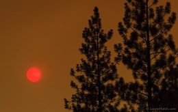 The sun shines thru an ochre sky created by large rim fire at Yosemite
